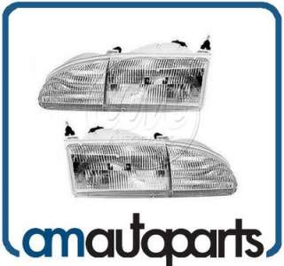 94 95 Ford Thunderbird T Bird Headlights Headlamps Pair Set Left LH