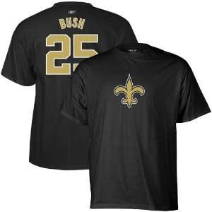 Saints #25 Reggie Bush Black Scrimmage Gear T shirt