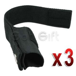 3X BLACK LED FLASHLIGHT LAMP LIGHT NYLON HOLSTER HOLDER POUCH BAG CASE