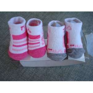 Fila Pink White Gray Newborn Infant Booties Socks, Size 0