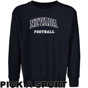Nevada Wolf Pack Youth Navy Blue Custom Sport Arch Applique Crew Neck
