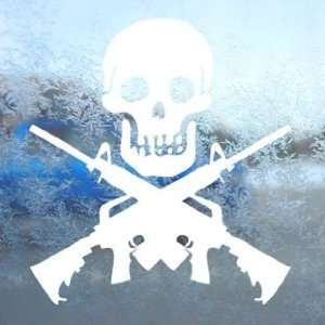 M4 Carbine Jolly Roger Skull M 4 White Decal Car White