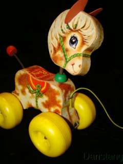 FISHER PRICE Vintage Prancy Prancing Pony wooden Pull Toy #617 from