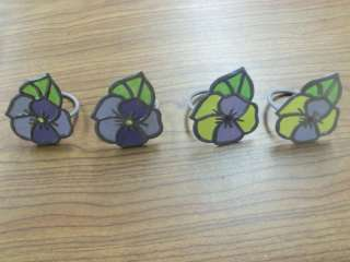 Purple/Yellow/Green Pansy Flower Napkin Rings  Easter / Spring   Set