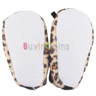 Newborn Infant Leopard Brown Bow Baby Soft Crib Shoes