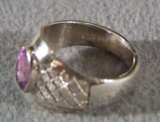 AFRICAN AMETHYST STERLING SILVER ART DECO BOLD FANCY BAND RING