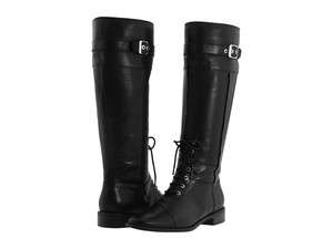 Anne Klein Womens Caryn Black Leather Boot