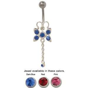 Butterfly Belly Ring Surgical Steel with Jewels   SLBP1713 Jewelry