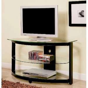 LCD Plasma TV Stand With Three Clear Tempered Glass Shelves In Black