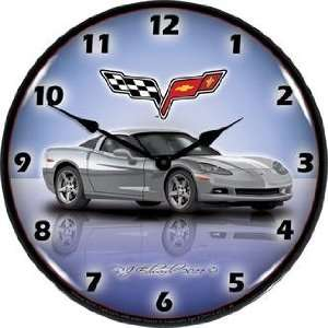 Sign and Clock GMRE1112344 Blade Silver 14 Corvette C6 Lighted Clock