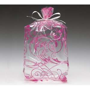 Hot Pink Swirl Cello Birthday Party Shower Favor Treat Bags 11x5x2.5