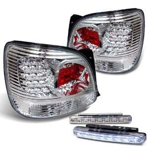 Chrome Tail Light Lamps with DRL 8 LED Fog Bumper Light Pair New Set