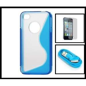 Blue Transparent TPU & Plastic Hard Cover for iPhone 4G 4S