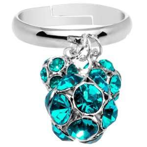 Zircon Blue Gem Cluster Dangle Adjustable Ring Jewelry
