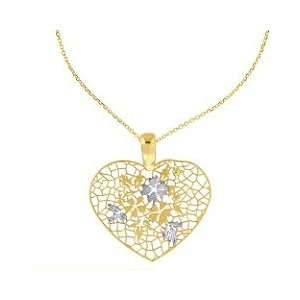 14K Two Tone Gold Heart Shape Pendant Jewelry