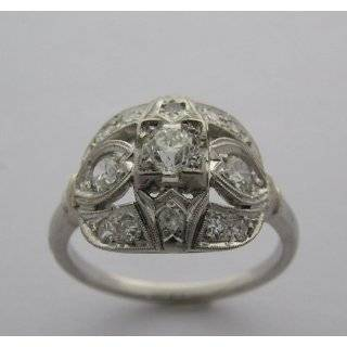 Antique Art Deco Platinum Mine Cut Diamond Ring Jewelry