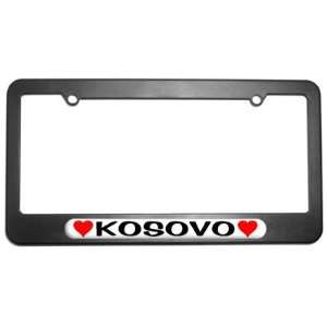 Kosovo Love with Hearts License Plate Tag Frame