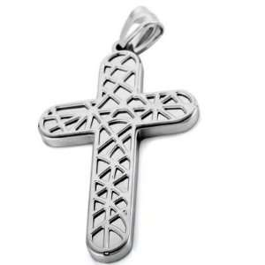 Black Stainless Steel Cross Checkered Necklace Pendants Jewelry