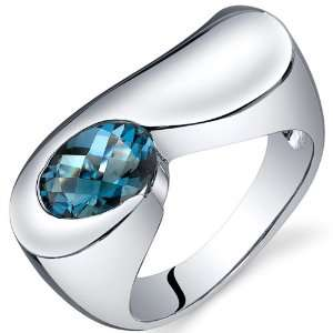Artistic 1.50 carats London Blue Topaz Ring in Sterling Silver Rhodium