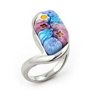 Murano Glass Millefiori Curved Marquise Sterling Silver Ring
