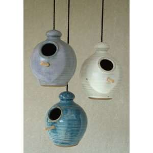 Chickadee stoneware hand thrown pottery bird feeder with perch