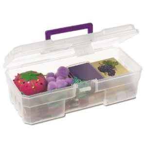 CLPUR 12 Inch Plastic Art Supply Craft Storage Tool Box, Semi Clear