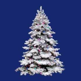 9 Pre Lit Flocked Alaskan Artificial Christmas Tree   G50