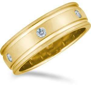 33 Carat 7mm 18kt Yellow Gold Promise Diamond Wedding Band Jewelry