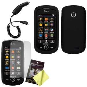 Black Silicone Skin / Case / Cover, LCD Screen Guard / Protector & Car