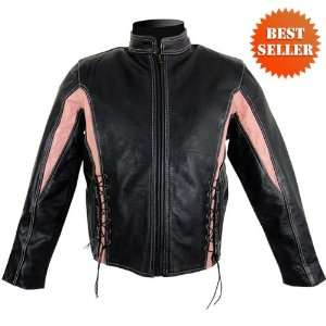 LJ266PINK   Womens Leather Motorcycle Jacket in Size XL Automotive