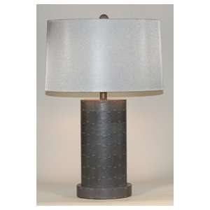 Contemporary Gray Oval Metal Table Lamp