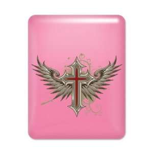 iPad Case Hot Pink Modern Angel Winged Cross Everything