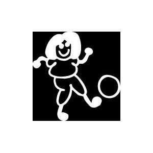 com Girl kicking Ball Stick Figure Family stick em up White vinyl Die