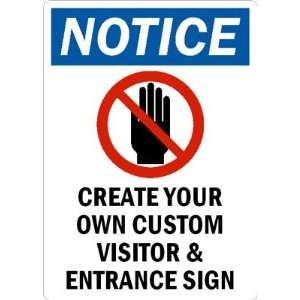 VISITOR & ENTRANCE SIGN Glow Aluminum, 10 x 7