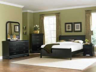 NEW 4PC MARIANNE BLACK WOOD LOW PROFILE BEDROOM SET