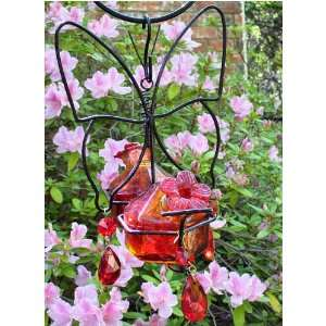 Bouquet Deluxe Butterfly Double Flame Red Glass Hummingbird Feeder