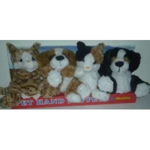 4 Pets Plush Hand Puppets Kellytoy Dogs Cats NEW Toys