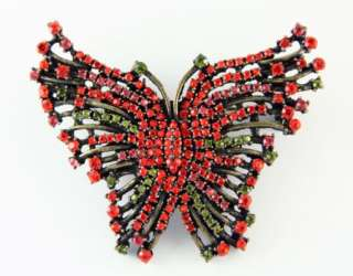 NEW RED BUTTERFLY RUCINNI SWAROVSKI CRYSTALS PIN BROOCH